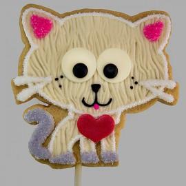 Valentine loving cat shortbread