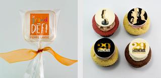 Cupcake et biscuits avec impression comestible comme cadeaux corporatifs
