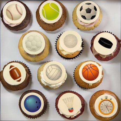 Cupcakes à motifs de sports (ballons) pour la Fête des Pères
