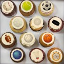 Father's Day cupcakes with sports illustration.