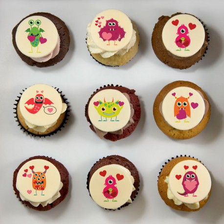 Halloween Cupcakes with cute monsters illustrations
