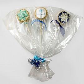 Bouquets de biscuits de Noël personnalisés avec impression comestible sur pastille de pâte de guimauve