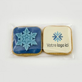 Branded Christmas cookies : personalized shortbread duos (square) with edible printing on marshmallow fondant