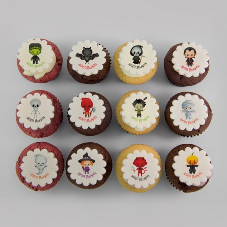Halloween costumed kids illustration cupcakes