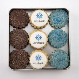 Coffrets cadeaux corporatifs personnalisés : sablés avec impression comestible