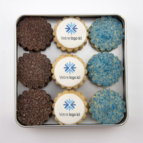 Christmas personalized corporate gift boxes: Shortbread cookies with edible impression printing on marshmallow fondant