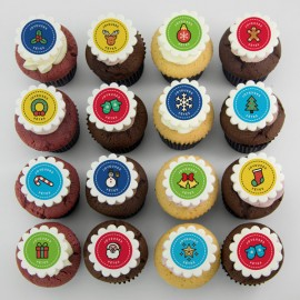 Christmas cupcakes with colourful Christmas icons' illustrations