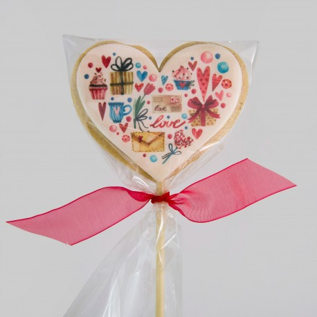 Heart shortbread cookies with Valentine edible printing