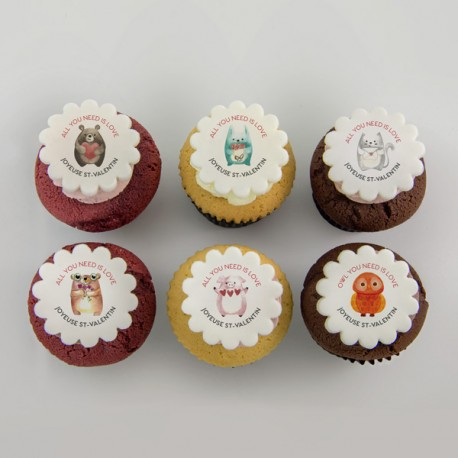 Valentine Cupcakes With Cute Little Animals Illustrations