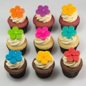 Easter cupcakes with colourful flowers