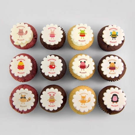 """Animal"" cupcakes for baptism, birth, baby shower or birthday"