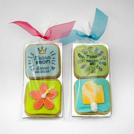 Personalized cookie duos for teachers and daycare workers.