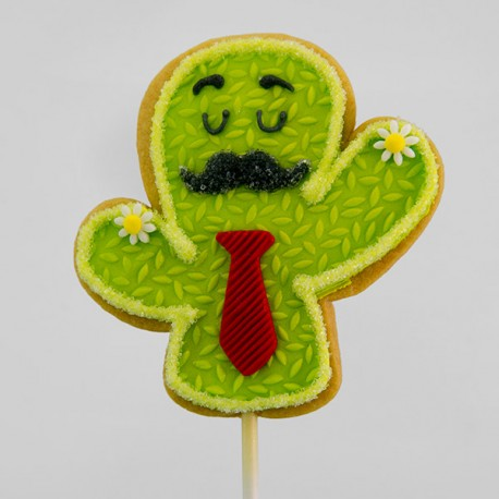 Mustache cactus cookie