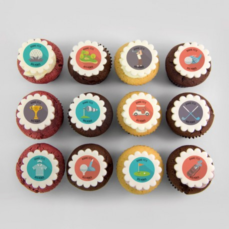 Father's Day cupcakes with golf illustration.