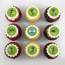 Father's Day cupcakes with soccer illustration.