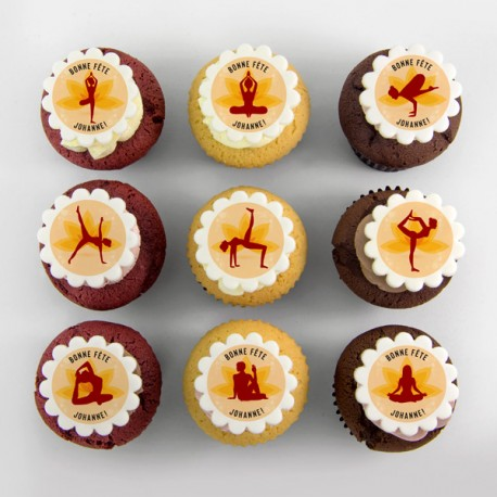 """Yoga"" cupcakes for birthday party or themed event"