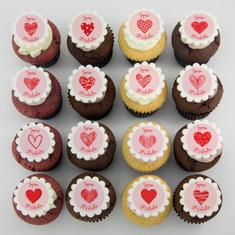 Valentine Cupcakes with heart illustrations