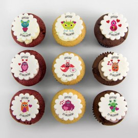 Love Cupcakes with cute loving monsters illustrations