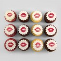 Valentine Cupcakes with kiss illustrations
