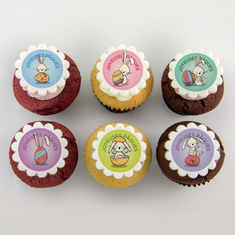 Easter cupcakes with rabbits illustations