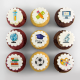 Graduation cupcakes with graduated owl illustration.
