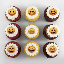 Halloween pumpkins illustration cupcakes