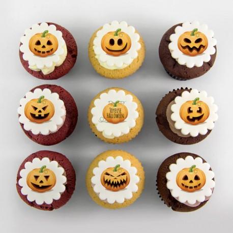 Halloween pumpkins illustration cupcakes