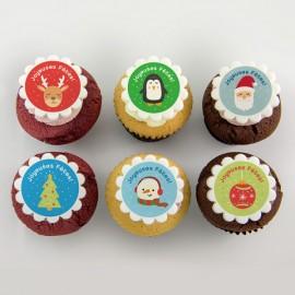 Christmas illustration Cupcakes : Santa, reindeer, Christmas decorations & penguin