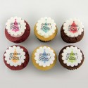 Christmas cupcakes with colourful Christmas tree illustrations