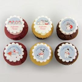 Christmas sweet animals illustrations cupcake