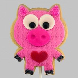 Valentine loving pig shortbread