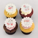 Valentine's Day cupcakes: couples of animals (cats, bunnies, bears, hippos)