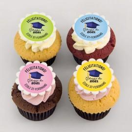 Graduation cupcakes with graduated owl illustration.