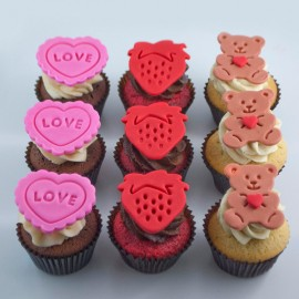 Valentine cupcakes – Heart, Bear, Strawberry