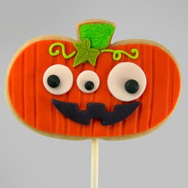 Halloween GMO Pumpkin shortbread cookie