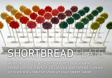 Colourful shortbread plate for corporate event or reception.