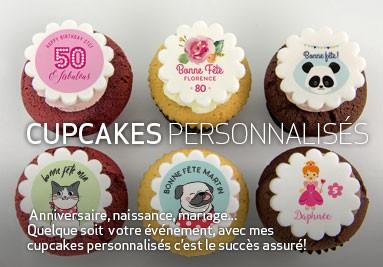 Cupcakes personnalisés pour anniversaire, naissance, mariage, etc.
